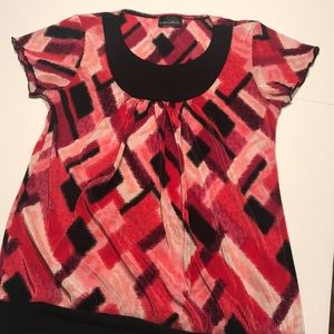 Brittany Black top or blouse pink w/ black size Sm